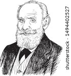 Ivan Pavlov cartoon portrait, Russian  psychologist