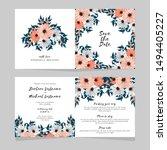 floral fold wedding invitation... | Shutterstock .eps vector #1494405227