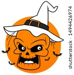 scary halloween skull saying hi  | Shutterstock . vector #1494426974