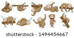 sloth vector set graphic clipart | Shutterstock .eps vector #1494454667