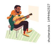 a young man playing the guitar...   Shutterstock .eps vector #1494462527