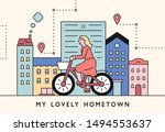 a woman rides a bicycle through ... | Shutterstock .eps vector #1494553637