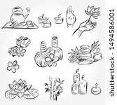 hand drawn set of spa... | Shutterstock .eps vector #1494586001
