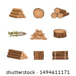 Set of wood logs or icons for forestry and lumber industry flat vector illustrations isolated on white background. Wooden trunks, stump and planks design elements. - stock vector