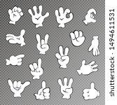 vector set of cartoon hands.... | Shutterstock .eps vector #1494611531