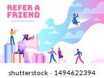 refer a friend. friendly people ... | Shutterstock .eps vector #1494622394