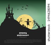 Halloween banner with fantasy silhouettes. Landscape of cemetary with scarecrow and pumkins. Holiday scene of october party. Vector illustration - stock vector