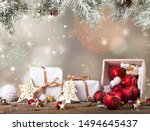 christmas decoration on wooden... | Shutterstock . vector #1494645437