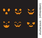 halloween pumpkin faces vector... | Shutterstock .eps vector #1494648641
