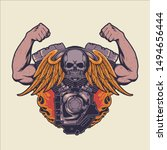v twin machine vector art   Shutterstock .eps vector #1494656444