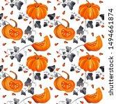 pattern of watercolor orange... | Shutterstock . vector #1494661874