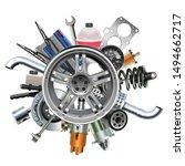 vector car parts with wheel... | Shutterstock .eps vector #1494662717