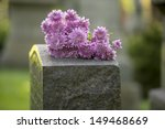 flowers rest on headstone in... | Shutterstock . vector #149468669