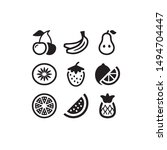 fruit icon set black and white    Shutterstock . vector #1494704447