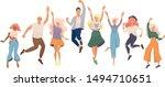 group of young happy dancing... | Shutterstock .eps vector #1494710651