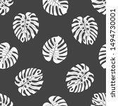 monstera leaves black ink... | Shutterstock .eps vector #1494730001