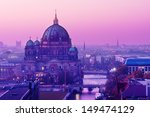 Stock photo berliner dom in purple sunset light 149474129