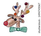 Christmas Reindeer Head With...