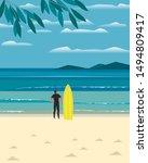 sport fun on sea beach. leisure ... | Shutterstock . vector #1494809417