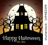 scary house on hill with moon | Shutterstock .eps vector #149483399