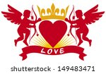 two cupids  heart and crown ... | Shutterstock . vector #149483471