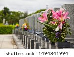 Row Of Gravestones In A Typica...