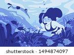 people snorkeling flat vector... | Shutterstock .eps vector #1494874097