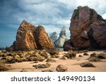 Rocky landscape of Ursa Beach in Portugal