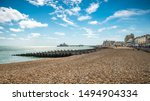 Small photo of Eastbourne Seafront and Pier, East Sussex, England. A summer view of the seafront of the East Sussex seaside town of Eastbourne with its landmark pier.