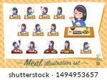 a set of girl about meals... | Shutterstock .eps vector #1494953657
