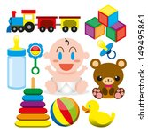 vector cartoon cute baby and... | Shutterstock .eps vector #149495861