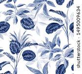 Seamless Pattern Monotone Blue...