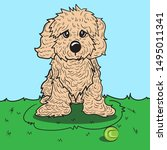 the cute cavapoo puppy is... | Shutterstock .eps vector #1495011341