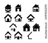 houses icons set. real estate | Shutterstock .eps vector #149503295