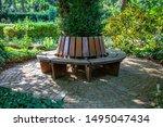 Round Wooden Bench Around A Tree