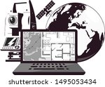 geodesy and cartography... | Shutterstock .eps vector #1495053434
