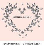 typography  slogan butterfly... | Shutterstock .eps vector #1495054364