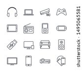 electronic and devices set icon ... | Shutterstock .eps vector #1495065581