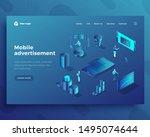 mobile advertisement isometric... | Shutterstock .eps vector #1495074644