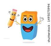 eraser cartoon holding pencil...   Shutterstock .eps vector #1495075994