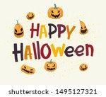 halloween greeting lettering ...   Shutterstock .eps vector #1495127321