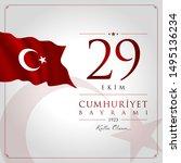 29 ekim cumhuriyet bayrami... | Shutterstock .eps vector #1495136234