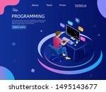 programmer   at work. ... | Shutterstock .eps vector #1495143677