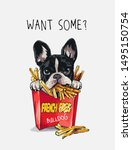 want some slogan with cartoon... | Shutterstock .eps vector #1495150754