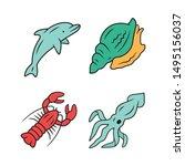 Ocean Animals Color Icons Set....
