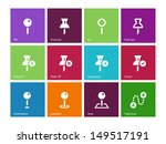 pins icons on color background. ...