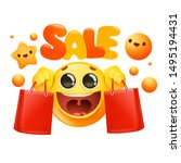 yellow cartoon emoji character... | Shutterstock .eps vector #1495194431
