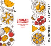 indian food illustration. hand... | Shutterstock .eps vector #1495194857