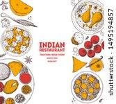 indian food illustration. hand... | Shutterstock .eps vector #1495194857