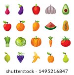 bundle of set fresh fruits and... | Shutterstock .eps vector #1495216847